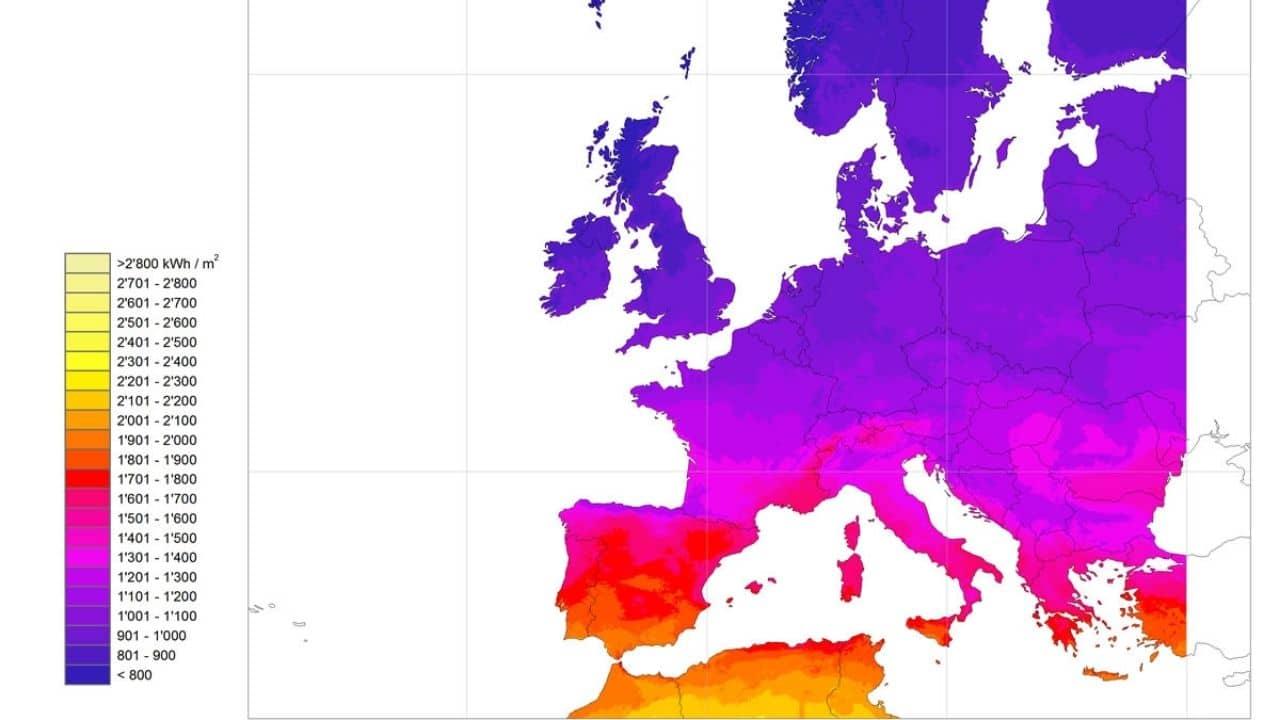 Mapa de la radiación solar en Europa