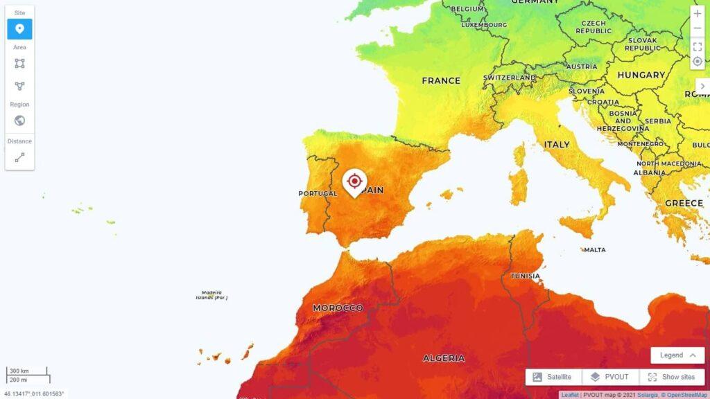 cantidad luz solar en España